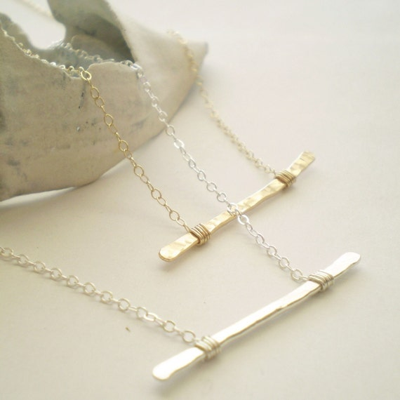 The Everyday Necklace - Hammered Gold Filled Bar on Delicate Gold Filled Chain