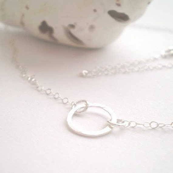 Tuesday Necklace - Simple Sterling Silver Hammered Link on Delicate Sterling Silver Chain