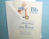 DIGITAL | B is for Boy Vintage Baby Boy Shower Invitation
