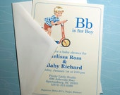 Vintage Baby Boy Shower Invitation - Set of 10