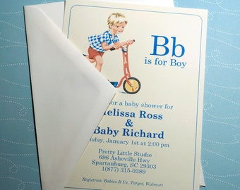 PRINTED | B is for Boy Vintage Baby Boy Shower Invitation | Set of 10