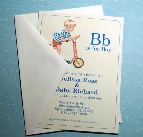 DIGITAL   B is for Boy Vintage Baby Boy Shower Invitation