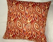 Pillow Cover - 18 inch Red and Orange Bold Leaf Print