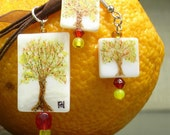 Hand Painted Tree of Life, necklace and earrings set