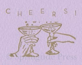 CHEERS letterpress card with vintage type for new years or any occasion