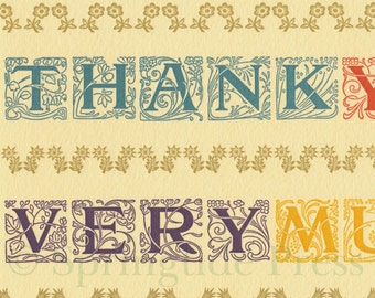 THANK YOU colorful letterpress card with antique hand set type and ornaments