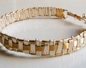 SPECIAL PRICE--Gold Filled and Sterling Silver Basket Weave Bracelet