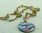 Swarovski Crystal Necklace with Abalone Pendant