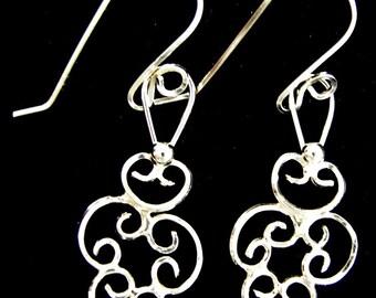 Sterling Silver Plain Wire Filigree Earrings
