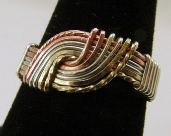Sterling Silver, Copper and GoldFilled Hug Ring - Your Size