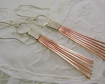 Mixed Metal Sterling Silver and Copper Earrings