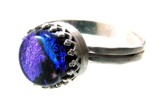 Sterling Silver and Dichroic Glass Ring (Small Cab) Size 9.5