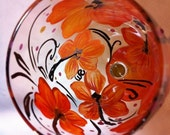 Orange Hibiscus Wine Glass