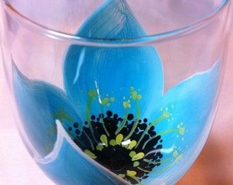 Hand Painted Aqua Flower Wine Glass