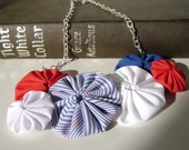 Red, Blue and White Suffolk Puff Bib Necklace