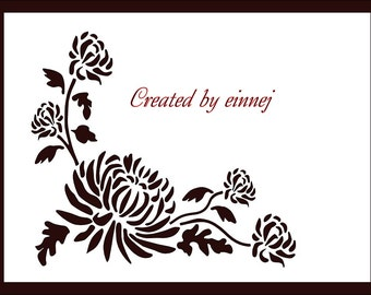 Chrysanthemum Silhoutte - SVG and DXF files formats