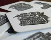Antique Typewriter Black Coaster- Letterpress printed, SET of 8