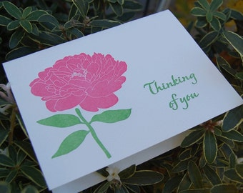 Thinking of You- letterpress, folded greeting card, Single