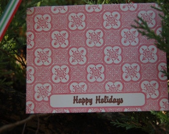 Happy Holidays Red- letterpress, folded cards, SET of 6