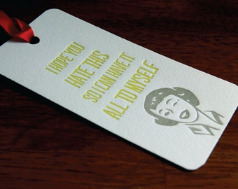 Hate This- Letterpress printed Bottle Tag, Gift Tag