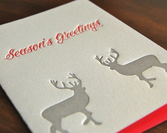 Season's Greetings Deer, Letterpress, folded cards, Single