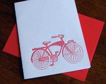 Vintage Bike in Red, Letterpress, folded cards, Single