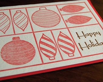 Holiday Ornaments- letterpress, folded cards, SET of 6