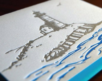 Lighthouse, letterpress, Single