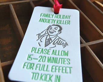 Anxiety Killer- Letterpress printed Bottle Tag, Gift Tag