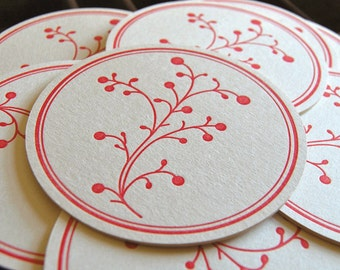 Berry coaster red, Letterpress printed, Set of 8