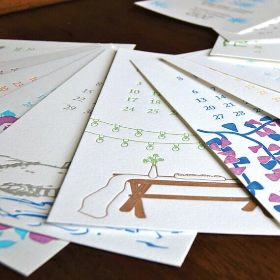 SALE: 2012 wall/desk post-card Letterpress Printed Calendar