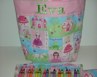 Kids Tote with Crayon Roll, Personalized, Girls Purse, Toddler Bag, Church Bag, Princess in the House