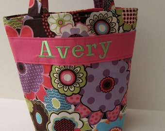 Personalized Kids Tote, Design Your Own Kids Tote with Crayon Roll,100s Fabric Choices