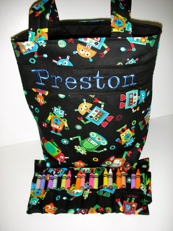 HeadGears Kids Tote with Crayon Roll and Coloring Book, Personalized, 100s Fabric choices