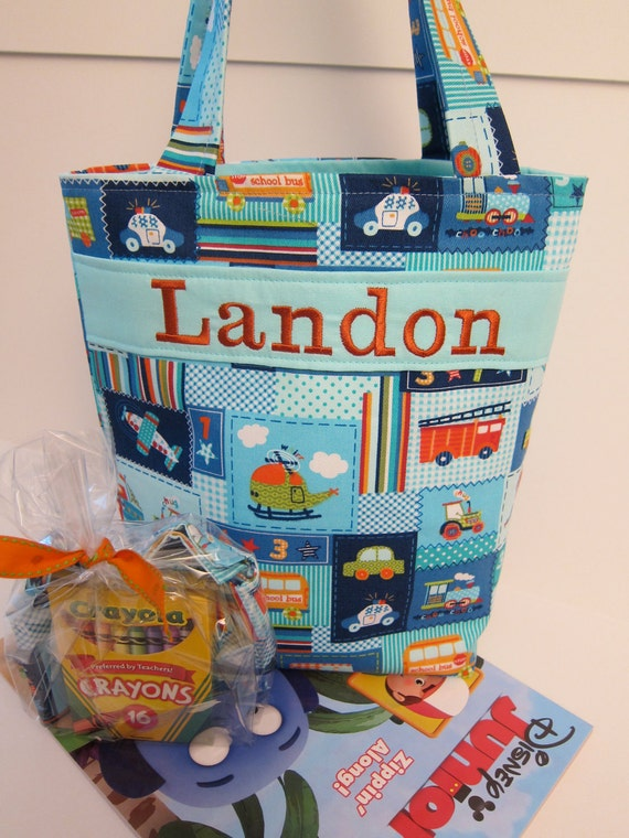 Planes, Trains, Automobiles, Boys Tote, Personalized, Crayon Roll, Quiet Bag, Ring Bearer Gift, 100s Fabric Choices