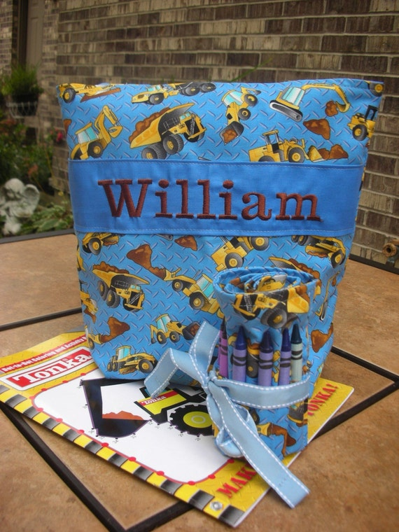 Construction Zone Personalized Tote Bag, Crayon Roll, Coloring Book