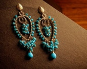 Turquoise & Gold Chandelier Earrings: Farria