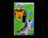 Lion Zebra and Bird Jungle Friends Light Switch Plate Single toggle (STANDARD SIZE)
