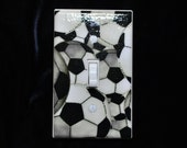 Soccer Balls Light Switch Plate Cover or Outlet  (STANDARD SIZE 4 1/2 inches)