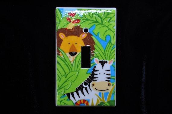 Lion Zebra and Bird Jungle Friends Light Switch Plate Single toggle (STANDARD SIZE)