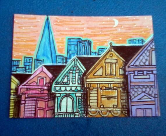San Francisco ACEO ATC Art Card Original Illustration Sunset City Dusk