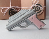 Soap Guns - Pink Target Practice - Mini Pistol Gun Box Gift Set of 4 - Goat's Milk Soap - Scented French Vanilla - For Her - Valentines Day