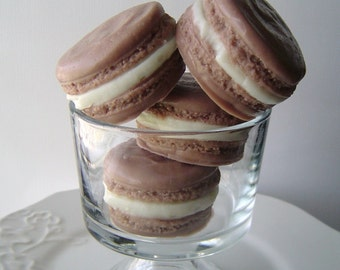 Macaron Soap - French Macaroon Goat's Milk Soap - Chocolate Cream Cheese Cupcake Scented - Brown - Gift for Her - Novelty - fake food