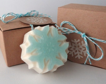 Winter Snowflake - Goat Milk and Glycerin Soap, Novelty, gift for her, shaped soap, mom, teacher gift, Christmas, stocking stuffer, wedding