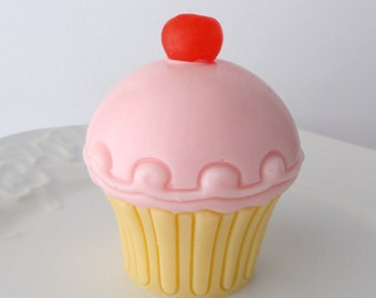 Cupcake Soap - Cherry on Top - Goat milk Soap - Scented Black Raspberry Vanilla  - Perfect Birthday Gift - For Her - Teen - Shaped Soap