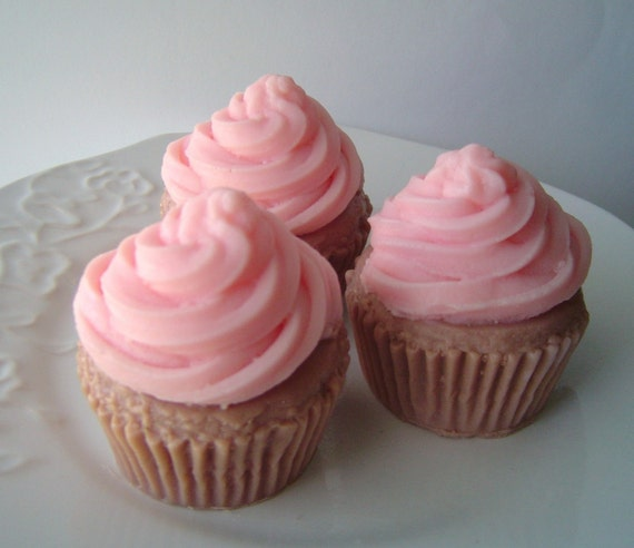 Cupcake Soap - Goat milk Soap - Gift for her  - Pink - Raspberry Cream - birthday - Teen - Party favor - Valentine - Shaped Soap - fake food