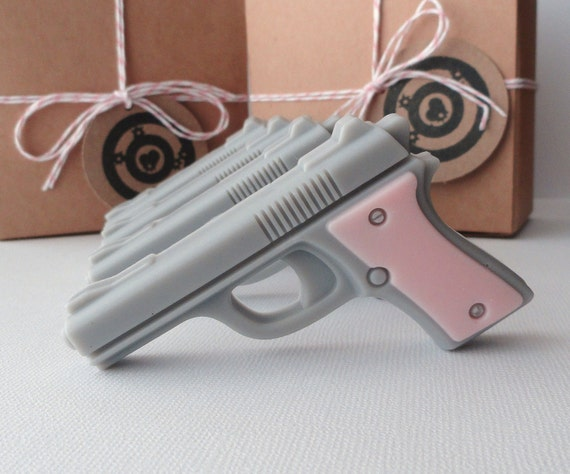 Soap Guns - Pink Target Practice - Mini Pistol Gun Box Gift Set of 4 - Goat Milk Soap - Scented French Vanilla - For Her - Shaped Soap