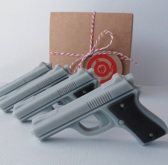 Valentine SOAP-Target Practice-Mini Pistol Box Set of 4-Goat's Milk and Glycerin  Soap-Scented Extremely Sexy For Men