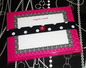 Printable Invitations/Notecards-Pink with black and white damask