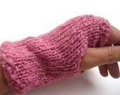 Alpaca Silk Hand knit Pink Fingerless Gloves Hand dyed Natural Fiber, eco-friendly